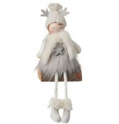 A charming little wooden girl decoration complete with dangly legs and glittery extras