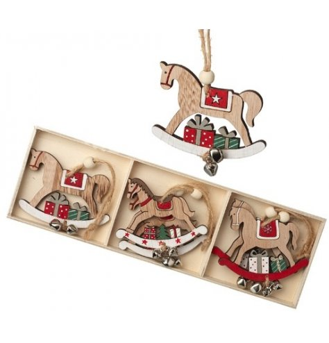 A set of charming wooden rocking horses with three designs. A lovely traditional tree decoration.