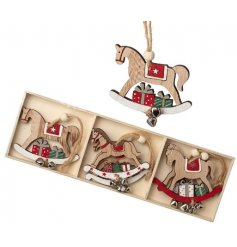 A set of beautifully decorated rocking horses in an assortment of colours