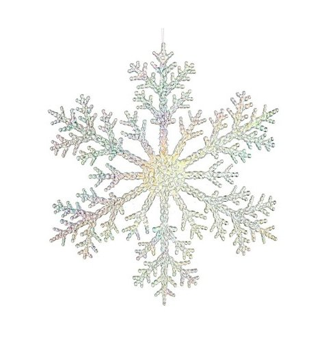 Large hanging iridescent snowflakes that would glisten beautifully within a window display.