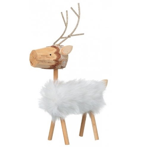 Wooden carved reindeer with glitter antlers and white faux fur body.
