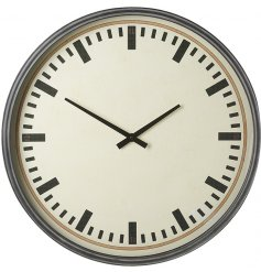 A large decorative wall clock with a Contemporary inspired display