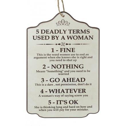 5 Deadly Terms Wooden Plaque, 45cm