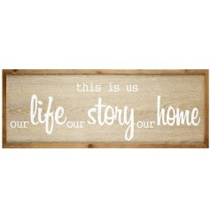 A beautifully simple natural wooden plaque featuring a sweetly scripted text decal