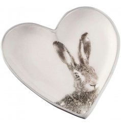 A small flat heart plate featuring a printed grey and white Hare decal