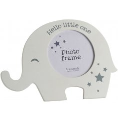 An adorable white and grey elephant photo frame with a star design and 'hello little one' slogan.