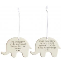 A mix of 2 charming elephant shaped signs each with a popular sentiment slogan.