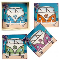 A set of 4 square ceramic coasters, each decorated with a colourful campervan print