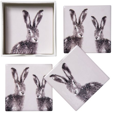 Hare Print Ceramic Coaster Set, 11cm