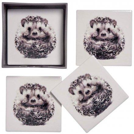 Hedgehog Print Ceramic Coaster Set, 11cm