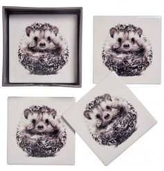 A sleek set of 4 ceramic based coasters, each printed with a charming hedgehog decal