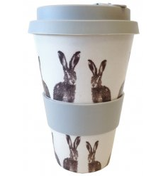 A grey and white toned bamboo mug featuring a sweet hare printed decal
