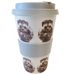 A grey and white toned bamboo mug featuring a sweet hedgehog printed decal