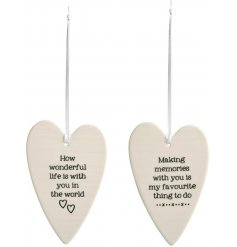 A mix of 2 shabby chic porcelain slogan heart decorations each with sentiment wording.