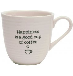 A sleek white porcelain mug with a ridged edging and added scripted text