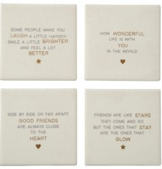 Assorted by their sweetly scripted text decals about best friends, this mix of ceramic based coasters are a must in any