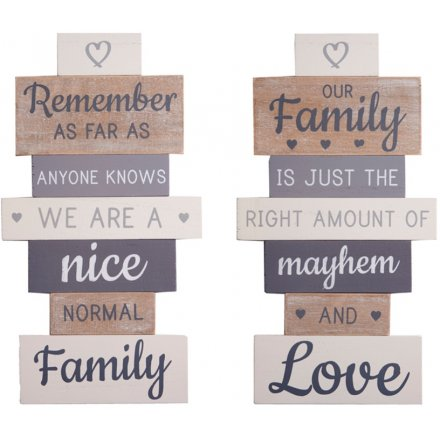 Our Family Wooden Tiered Plaques, 35cm