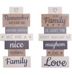 A beautifully designed assortment of slatted wooden wall plaques with natural wooden tones and charming grey hues