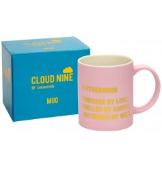 A quirky and colourful themed mug with a printed text decal and matching gift box