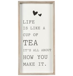 A sleek and stylish plaque, perfect to bring to any home or kitchen space