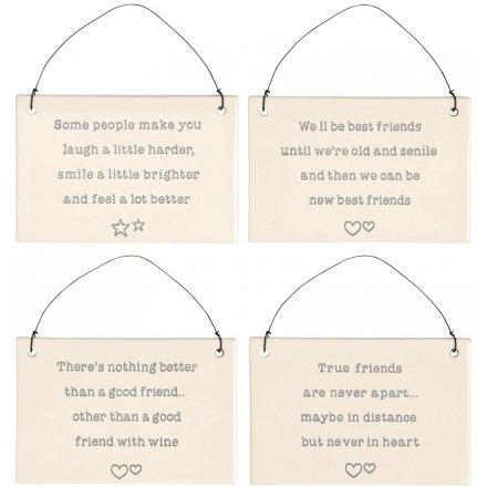 Hanging Ceramic Friendship Plaques, 15cm