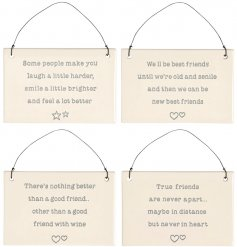 A charming mix of hanging ceramic plaques, each decorated with its own sweetly scripted texts