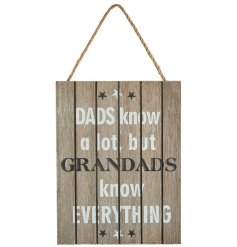 A hanging wooden plaque featuring a whitewashed wooden effect and bold scripted text