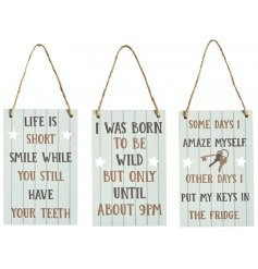 An assortment of small metal signs featuring a cream tone and comical printed text on each