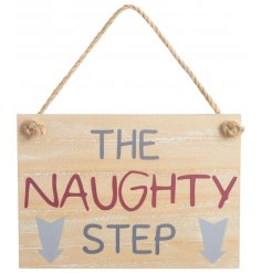 A wooden plaque featuring a bold purple and pink Naughty Step text