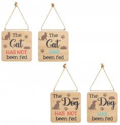 An assortment of natural wooden plaques set with illustrated cats and dogs and a scripted text decal on both sides