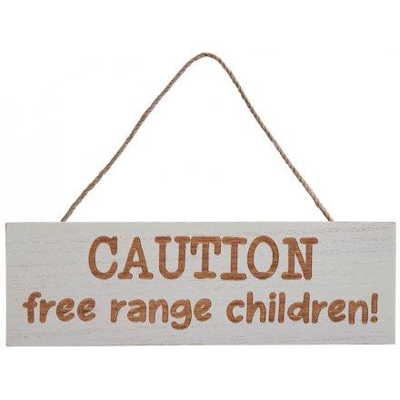 Free Range Children Wooden Sign, 25cm