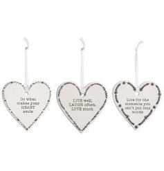 A mix of 3 hanging ceramic heart plaques, each decorated with its own embossed text decal
