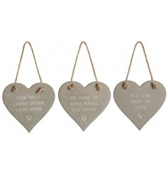 Sure to bring a rustic charm to any space, this mix of concrete hanging hearts each embossed with a text decal