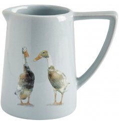 A sleek and stylish grey toned jug featuring a duo of ducks printed on the front