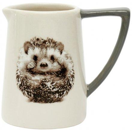 Grey & White Ceramic Hedgehog Jug, 11cm