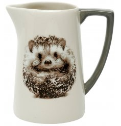 Decorated with an adorable curled up hedgehog print, this sleek ceramic jug is a must have for any home