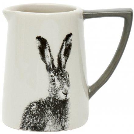 Grey & White Ceramic Hare Jug, 11cm