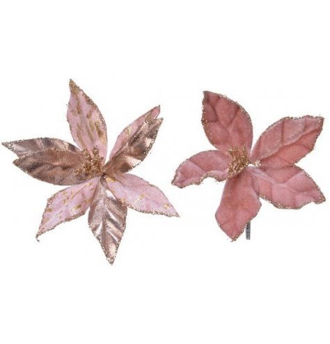 Beautifully detailed velvet poinsettia flowers for a luxurious decoration.