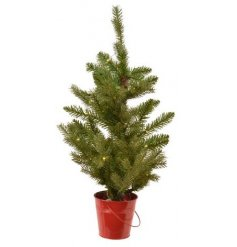 Perfect for placing on any Windowsill or side in the home at Christmas time, a small LED tree potted in a festive red b