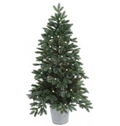 A tall standing Christmas Tree with added warm glowing LED Lights