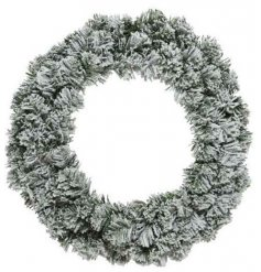 A simplistic round imperial wreath covered with a flurry of snow, perfect for dressing up and down durning the festive s