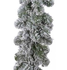 A large bushy garland with an added snowy coating, perfect for personalising yourself during the festive season