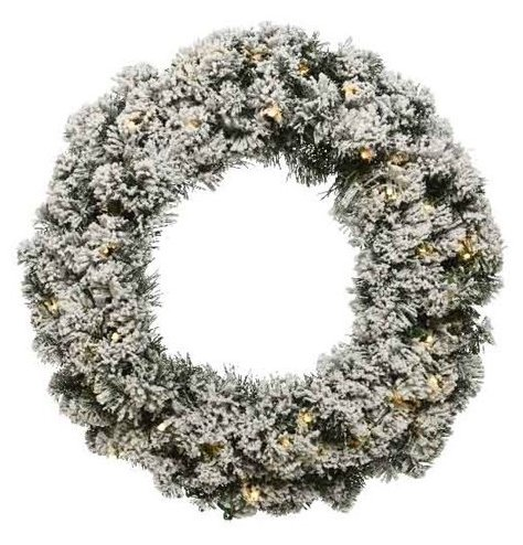 An Imperial round wreath with snow flocking and battery powered LED fairy lights within.