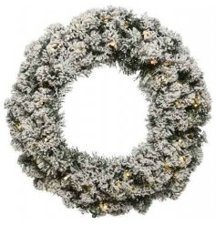 A beautifully simple large imperial wreath decorated with a snowy covering and LED entwined decal