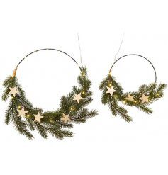 A Set of 2 assorted sized wire rings complete with an entwined LED string Light and pretty pine branch finish
