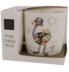 Complete with a matching gift box, this quirky mug features a colourful Ostrich Decal
