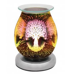 glass lamp with oil burner/wax melt feature with dish, creating a 3-dimensional, multicoloured tree of life effect.