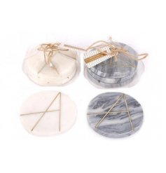 An assortment of Grey and White Marble printed coasters with an added golden geometric decal