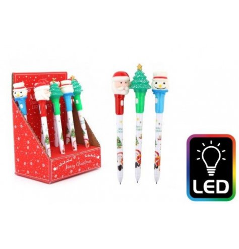 A festive themed assortment of novelty writing pens with an added flashing LED