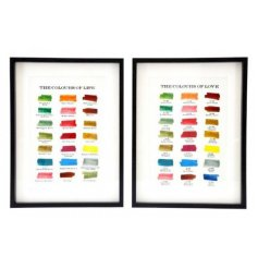 An assortment of colour swatch prints with additional scripted texts in a block black frame